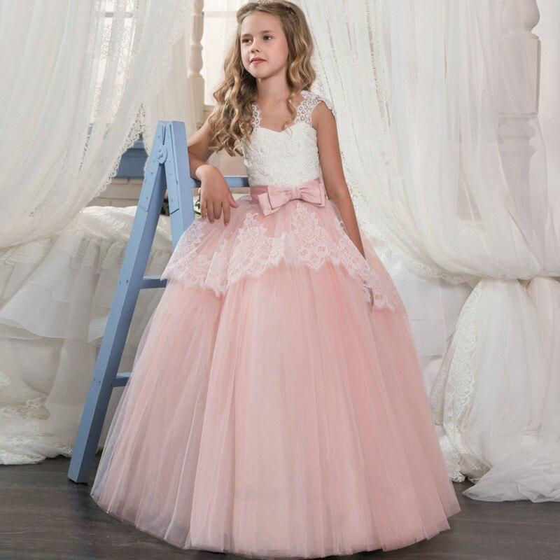 Elegant Girls Dress Vintage Evening Wedding Children Party Dress  Pageant Long Gown Princess Dress Wedding Girl Formal Dress