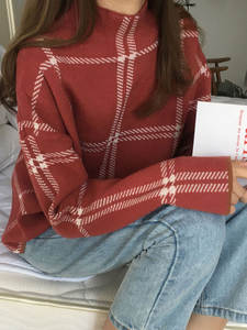 Pullovers Sweater Tops Plaid Turtleneck Knit Loose T98301D Korean Casual Fashion Winter New