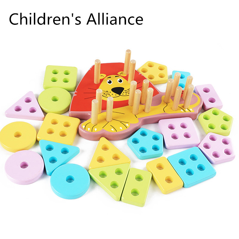 learning toys juguetes montessori juguetes madera juegos didacticos juguetes preescolar Montessori Juguetes Educativos de madera para niños Aprendizaje Temprano ejercicio manos-en la capacidad geométricas formas juego