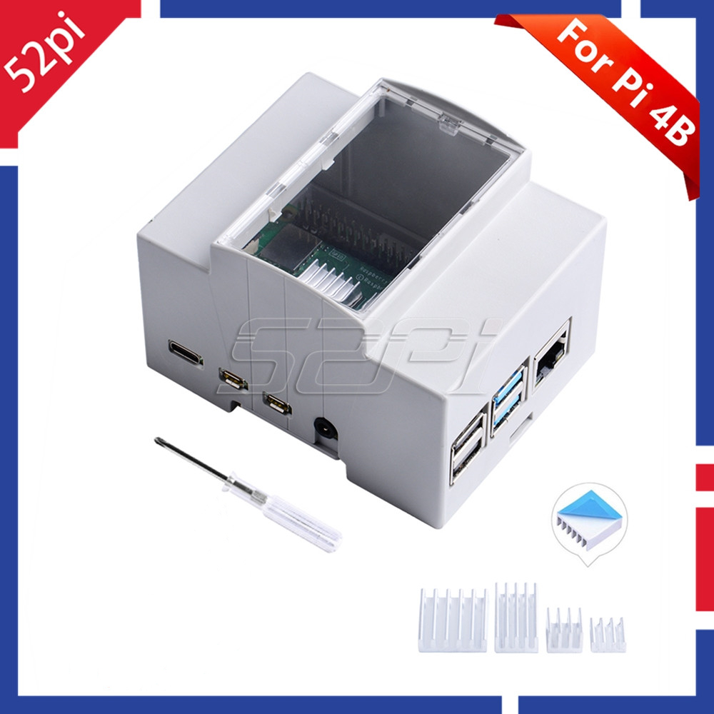 52Pi ABS Electrical Box Plastic Case With Heatsinks Screwdriver For Raspberry Pi 4 B / 3 B + / 3 B