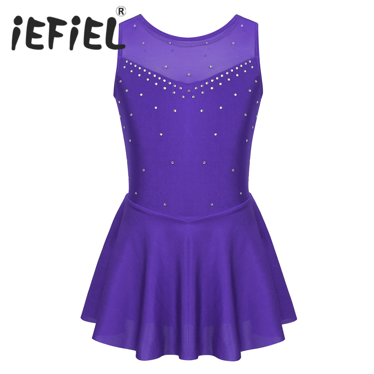 TiaoBug Figure Skating Short Skirt for Women Training Dress Gymnastics Ice Skating Chiffon Skirt