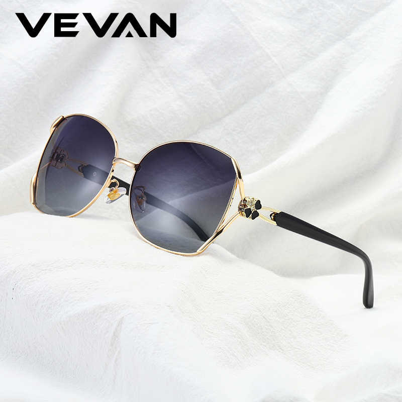 VEVAN High quality alloy frame women polarized sunglasses UV400 protection four-leaf sun glasses ladies oculos feminino