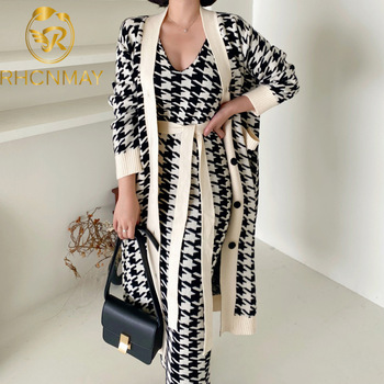 Sweater Set  Vintage Style V-Neck Long Knitted Sweater Coat  Houndstooth Vest Dress Two-Piece Suit 1