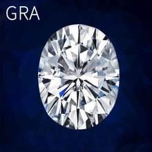 Szjinao-piedra moissanita para anillo, piedra moissanita de corte ovalado, 6x8mm, Color D, Real 100%, 1.5ct, con certificado GRA
