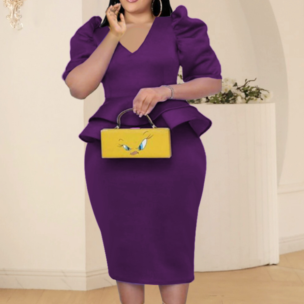 Plus Size Sets Women Two Piece V Neck Half Sleeve Peplum Tops...