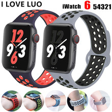 Bracelet en Silicone respirant pour Apple Watch, 44mm 40mm i 42mm 38mm, pour Apple Watch 6 5 4 3 se