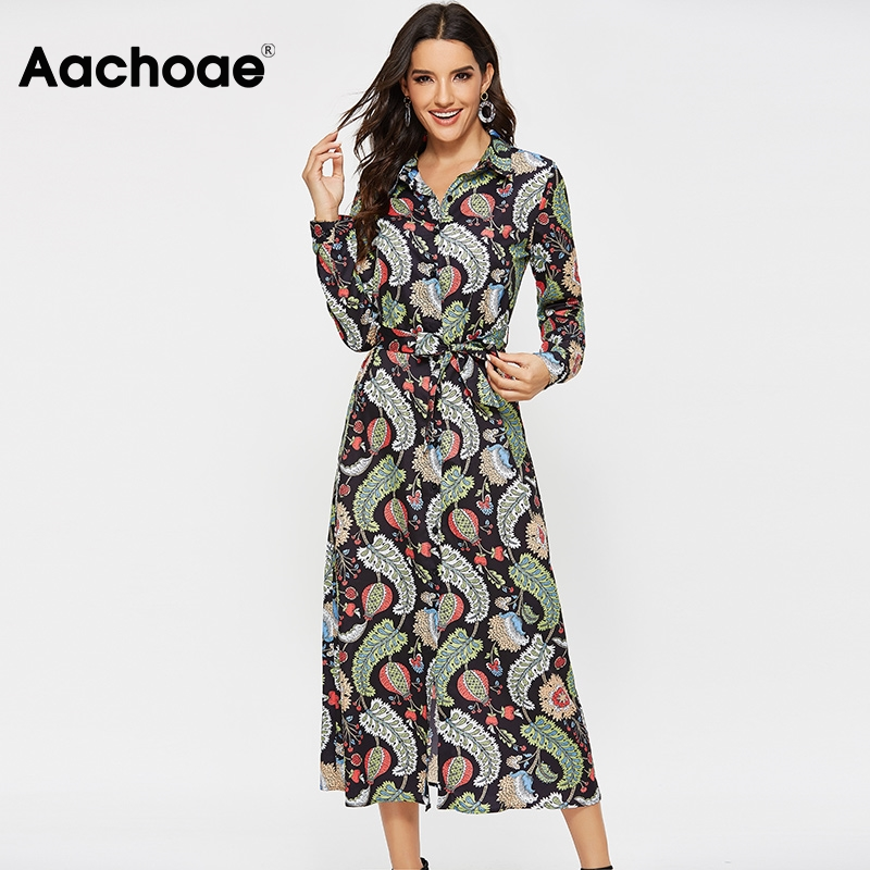 Aachoae Women Casual Printed Shirt Dress 2020 Vintage Long Sleeve Bandage Dresses Female Office Turn Down Collar Dress Vestidos