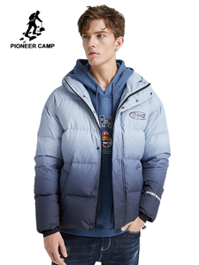 Image 1 - Pioneer Camp Fashion Gradient Down Jacket Men Brand Clothing White Duck Down Winter Hooded Zipper Mens coats  AYR903415