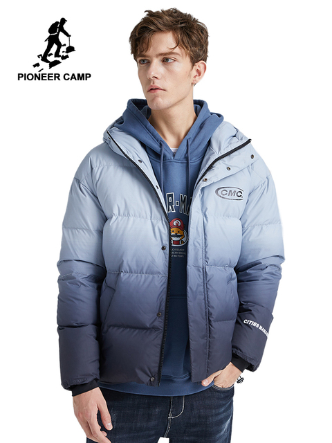 Pioneer Camp Fashion Gradient Down Jacket Men Brand Clothing White Duck Down Winter Hooded Zipper Mens coats  AYR903415