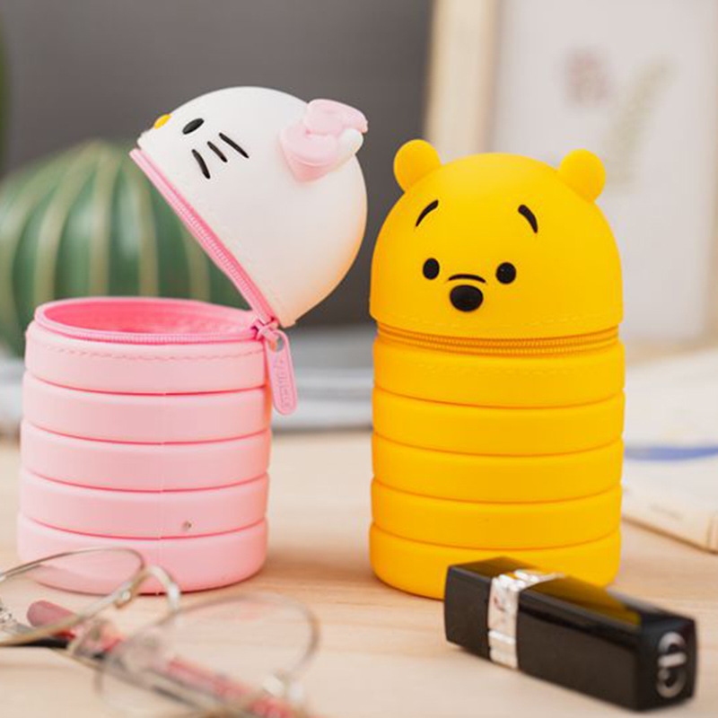 Kawaii Telescopic Makeup Bush Holder Pen Bag Stationery Gift Silicone Beauty Case Decompress Brush Holder Bag For Wonman 2018