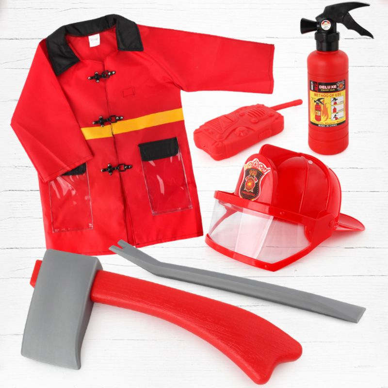 5pcs Children Firefighter Fireman Cosplay Toys Kit Helmet Fire Extinguisher Intercom Axe Wrench Best Gifts For Kids 72XC