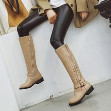 women knee high boots low heels autumn matin shoes woman  zapatos mujer vintage gladiator booties wxz153