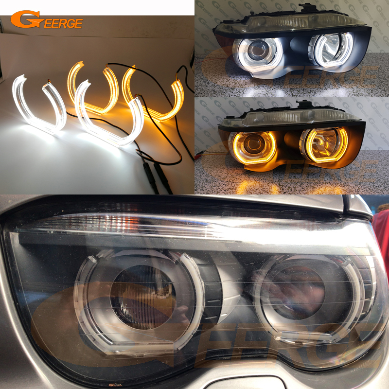 Excellent DTM LED Angel Eyes White Amber switchback DRL turn signal light For <font><b>BMW</b></font> E65 E66 PRE FACELIFT <font><b>745i</b></font> 745Li 760Li 760i image