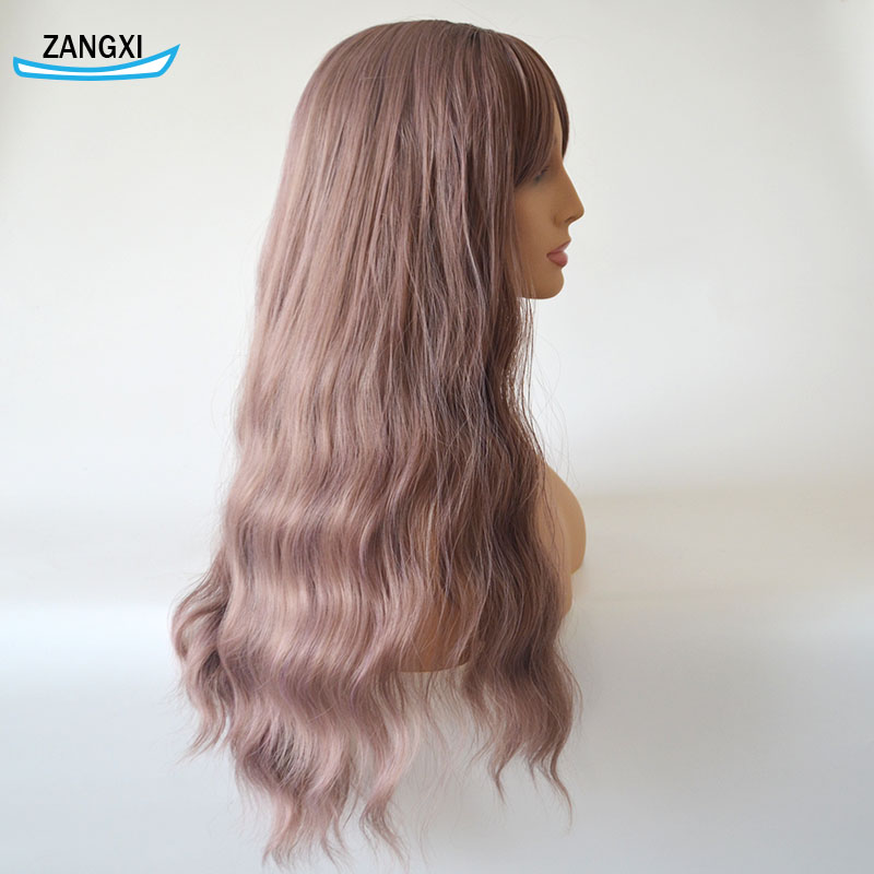 24inch Bob Wigs For Women Water Wave Wigs With Bangs High Temperature Fiber Natural Hair Wig For Daily And Cosplay Wigs