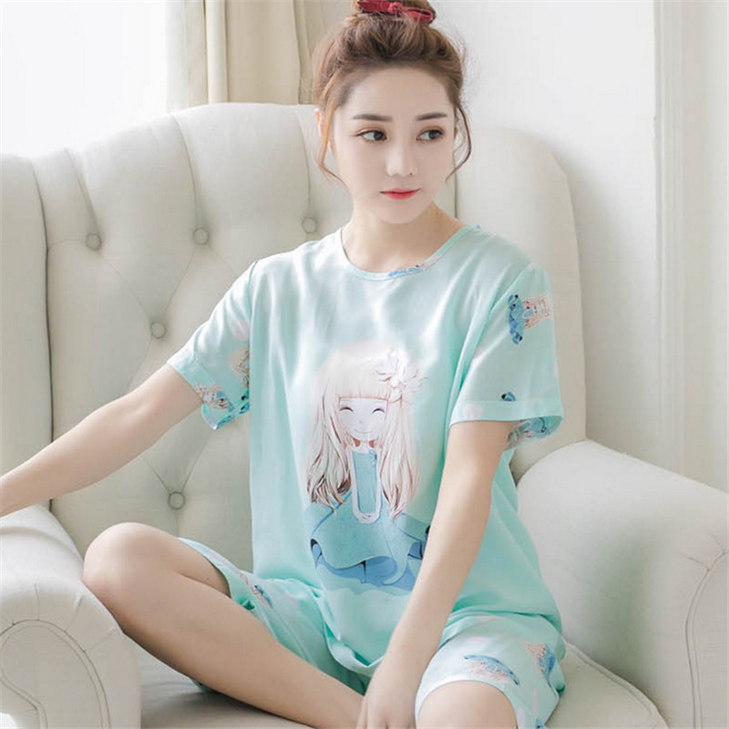 Pajamas Spring Summer New Style Cute Short Sleeve Set Thin Plus-sized Sweet Tracksuit Lily Girl