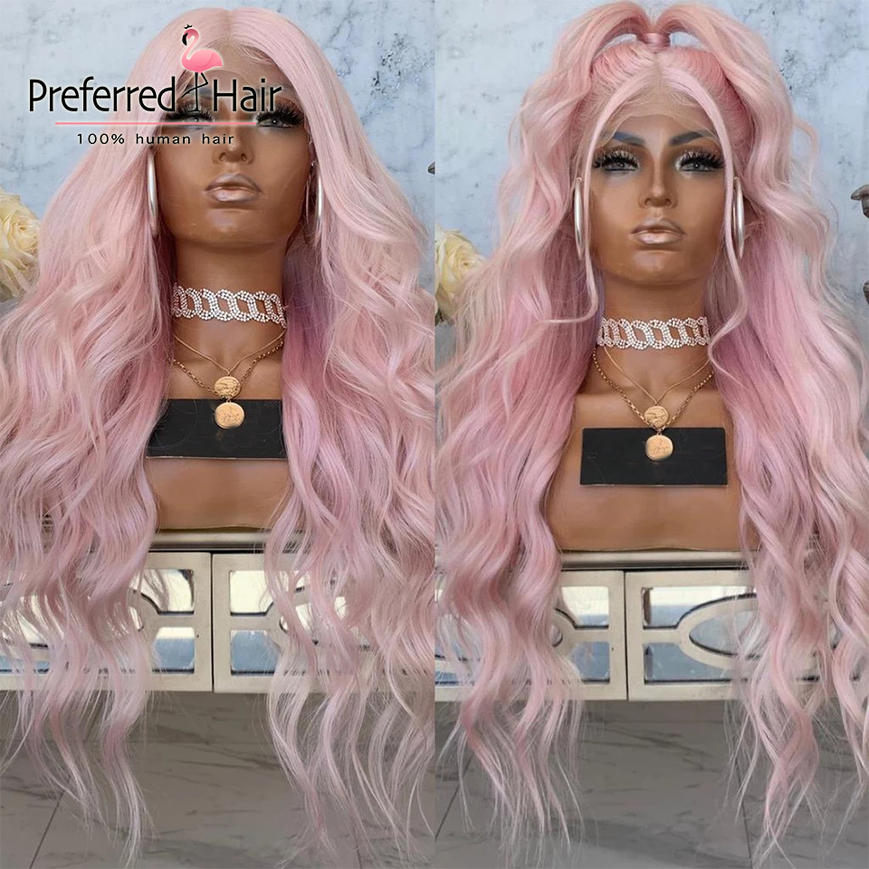 Preferred Pearl Pink Loose Wave Wig Pre Plucked Platinum Blonde Lace Front Human Hair Wigs Remy Transparent Lace Wigs for Women image