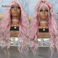 Preferred Pearl Pink Loose Wave Wig Pre Plucked Platinum Blonde Lace Front Human Hair Wigs Remy Transparent Lace Wigs for Women
