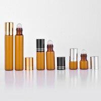 Wholesale 50 Pieces 5ML Mini Brown Glass Refillable Perfume Bottle With Aluminum Cap Empty Portable Essential Oils Container