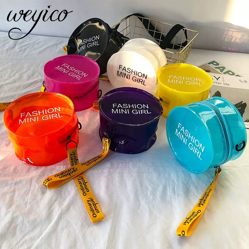 2020 New Jelly Bag Transparent Women One -shoulder Bag Girl Beach Circle Bag Cross-body PVC Handbag Swimming Lady Portable Bags
