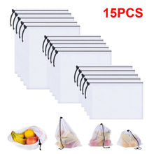 15Pcs Reusable Produce Bags Washable Mesh for Grocery Shopping Fruit Vegetable Toys Sundries Organizer Storage