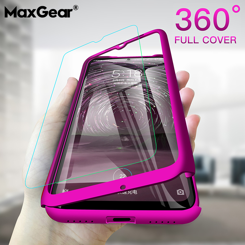 360 Degree Case For Xiaomi 5X 6X 8 9 Lite SE CC9 Full Cover For Redmi Note 9 9S 8 8T 7 6 5 Pro 7A 8A MAX Phone Shell With Glass(China)