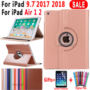 360 Degree Rotating Leather Smart Cover Case for Apple iPad Air 1 Air 2 5 6 iPad 9.7 2017 2018 5th 6th Generation Coque Funda(China)