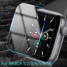 1/3 Uds Protector de pantalla de vidrio templado para Apple Watch Serie 6 5 4 3 2 1 SE 38 40 42 44mm para Apple IWatch Film Protector de pantalla
