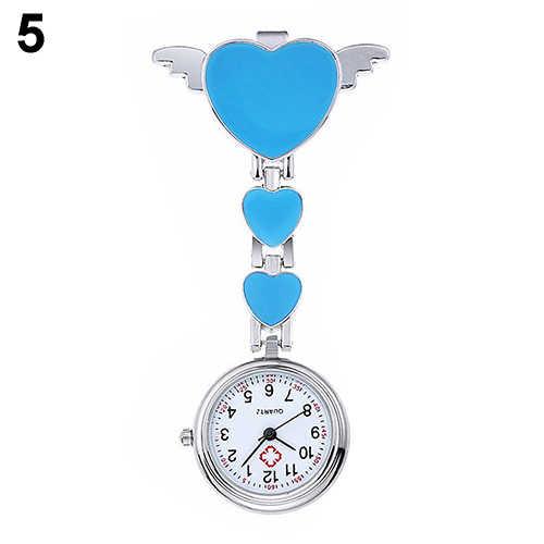Infirmière montre femme Portable femmes en acier inoxydable dame mignon amour coeur Quartz Fob broche horloge infirmière montre médecin médical reloj