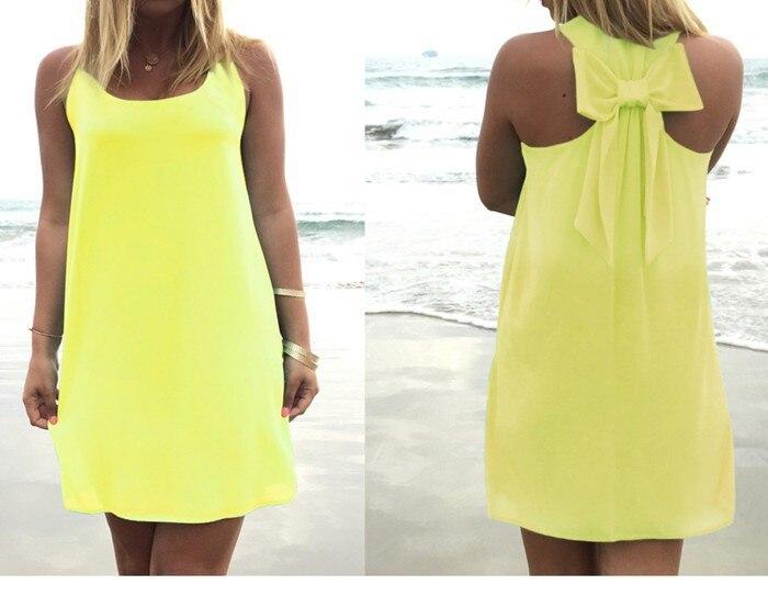 Летнее платье, Летний стиль, Женский Повседневный Сарафан размера плюс, женская одежда, Пляжное платье, шифоновое женское платье - Цвет: Yellow