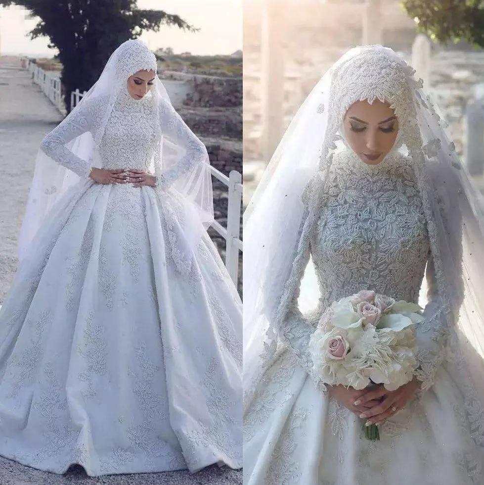 Cheapest 2020 Muslim Wedding Dress Long Sleeves Lace Appliqued Sweep Train Bridal Gowns Vestido De Novia