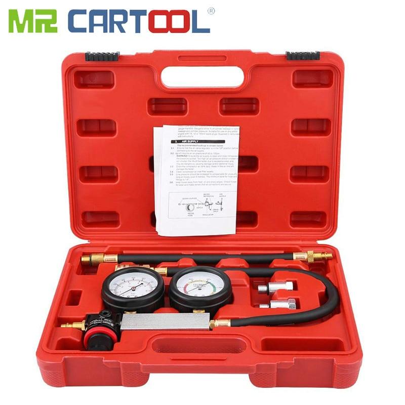 Mr Cartool TU-21 4Pcs Cylinder Leak Tester Compression Test Kit Cylinder Petrol Engine Compression Leakage Leakdown Detector