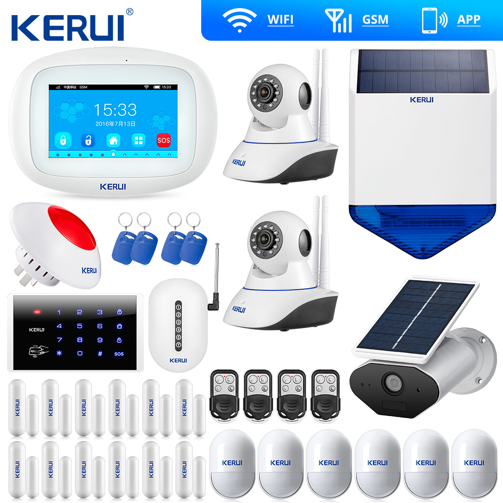 Kerui K52 Große Touchscreen WIFI GSM Alarm System TFT Display Home Alarm System Sicherheit Solar Kamera Sirene WIfi Kamera
