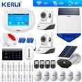 Kerui K52 большой сенсорный экран wifi GSM сигнализация TFT дисплей домашняя сигнализация система безопасности Солнечная камера сирена wifi камера