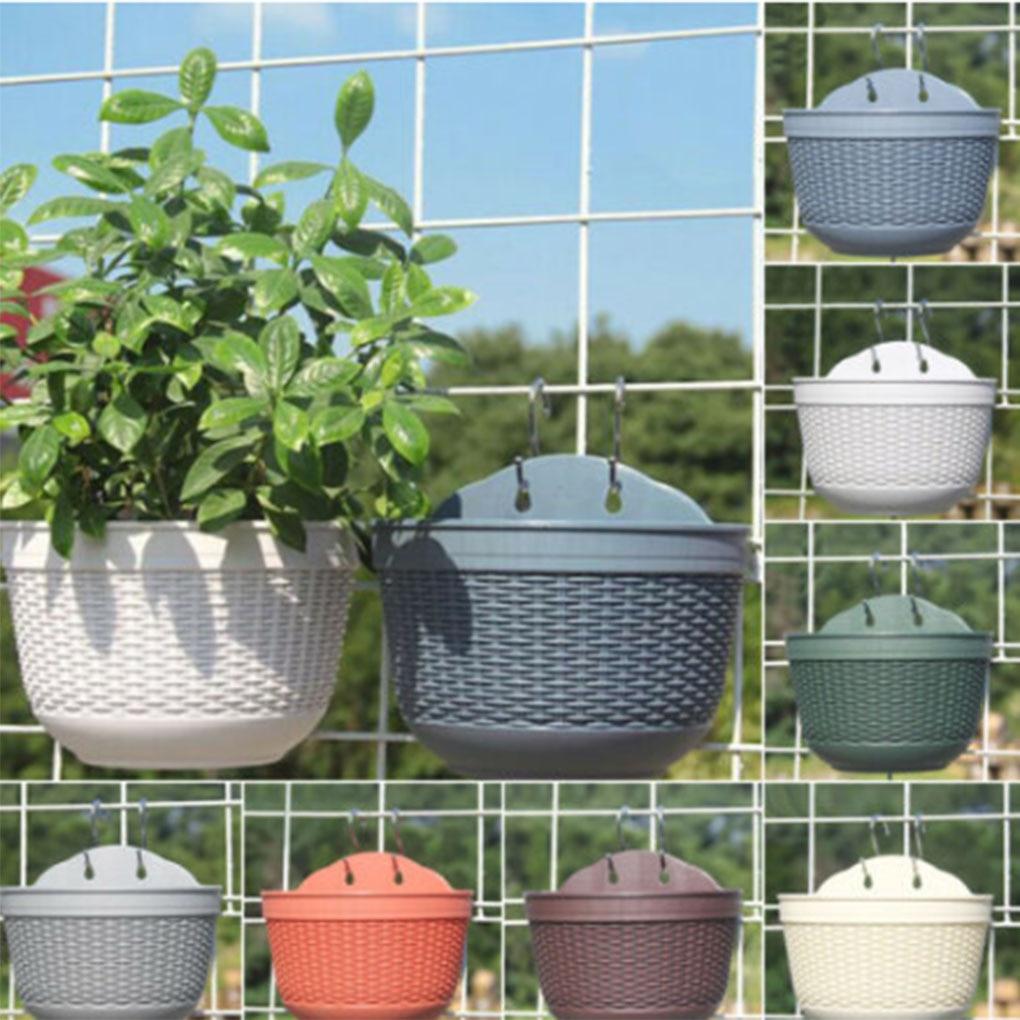 Wall-mounted Flower Pot Imitation Rattan Wall Hanging Flower Plant Pot Semicircular Resin Fence Basket for Balcony Garden Indoor