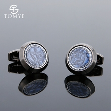 TOMYE Cufflinks Mens Black Gun Blue Round Luxury Novelty Unique High End Suit Shirts Cuff Links GiftXK19S098