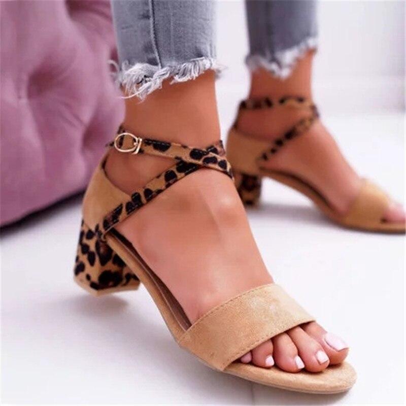 Hot Sexy Leopard Block Heels Sandals For Woman 2020 Luxury Women's Low Heel Sandals Fashion Summer Ankle Strap Beach Sandalias