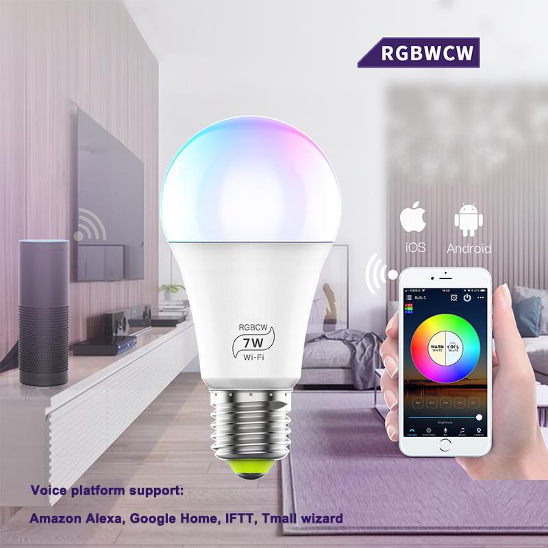 E27 WiFi умный светильник, Диммируемый, многоцветный, Wake Up светильник s, RGBWW светодиодный светильник, совместимый с Alexa Google Assistant - 2