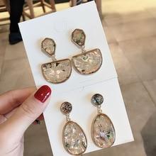 Korean Chic Vintage Temperament Geometric Earrings For Women Big Statement Shell Style Earrings недорого