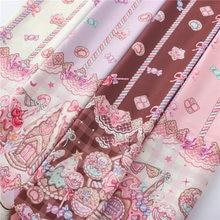 140x50cm bonito biscoitos doces impresso tecidos de poliéster para retalhos diy artesanal lolita estilo menina boneca vestido de costura material
