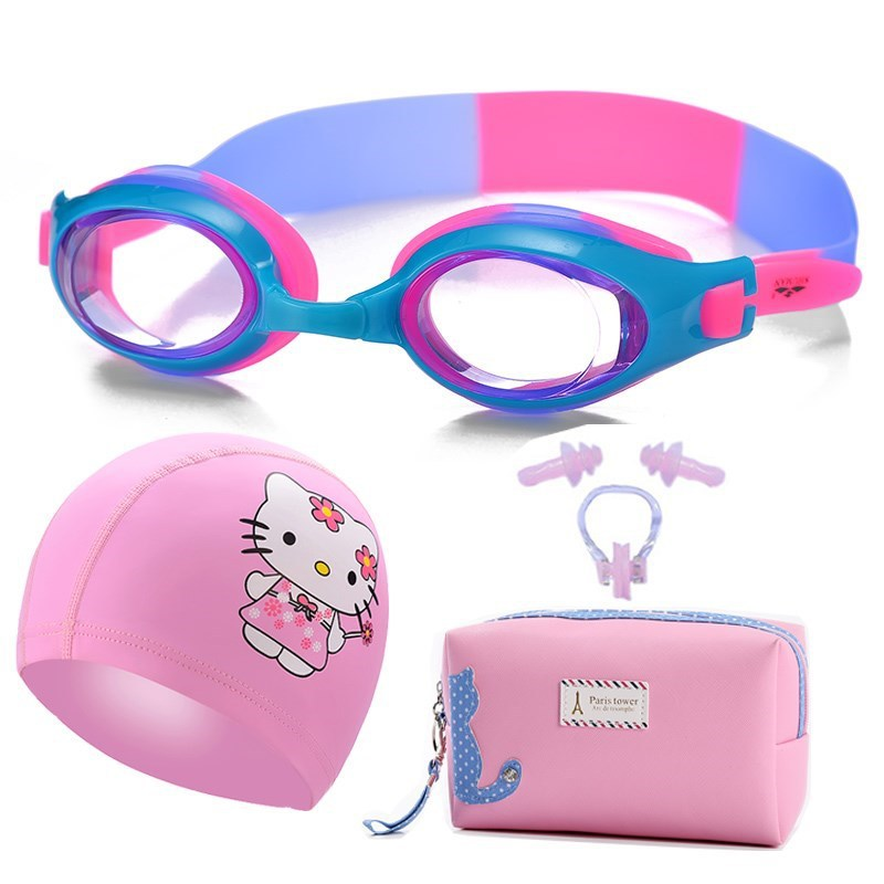 Swimming BOY'S Girls Eyes Kids High definition Swimming Cap Four piece Set Set CHILDREN'S Swimming Goggles Waterproof Anti fog Safety Goggles     - title=