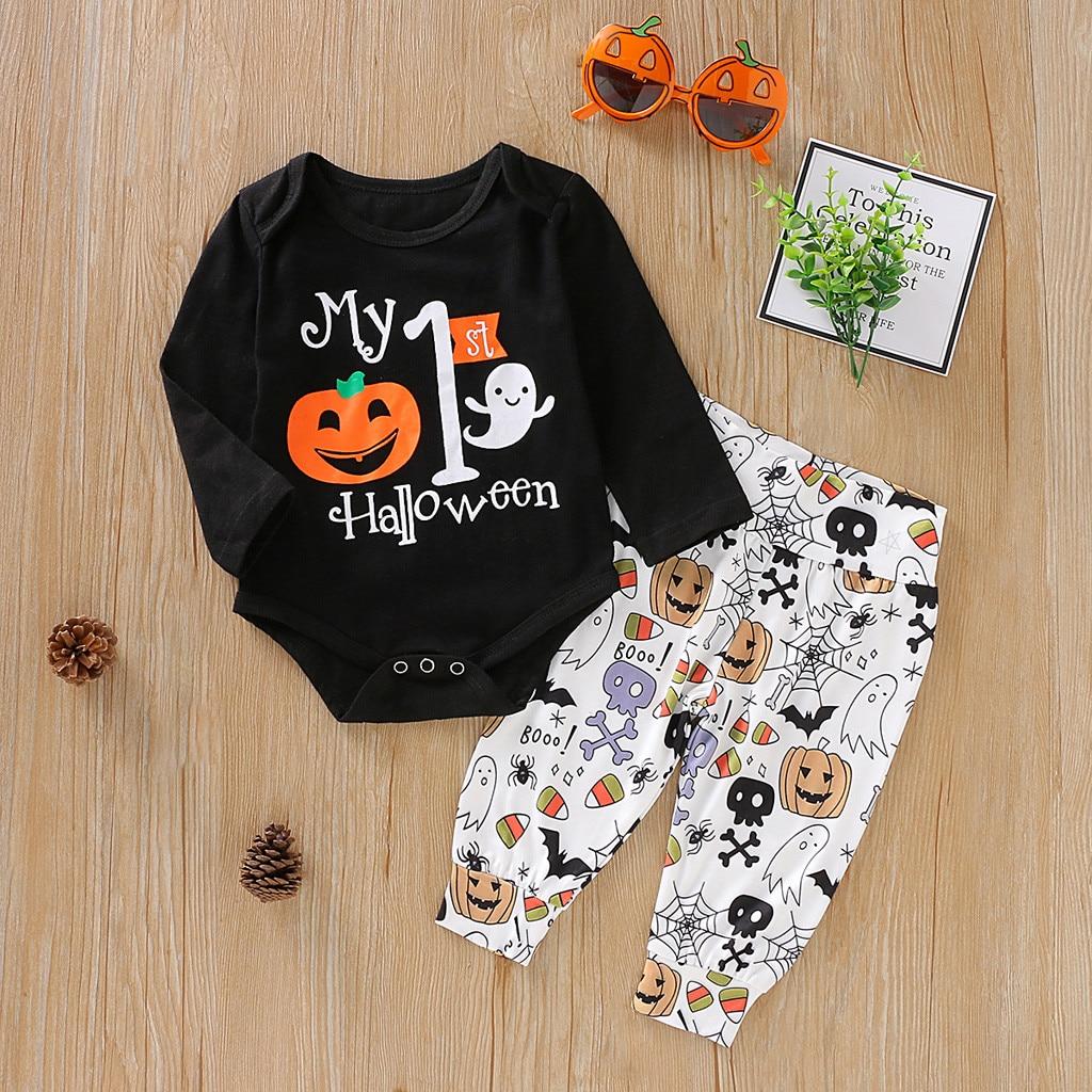 Halloween Newborn Baby Clothing Child Baby Boy Girl Halloween Pumpkin Cosplay Costume Long Sleeve Hat Coat Clothing Set