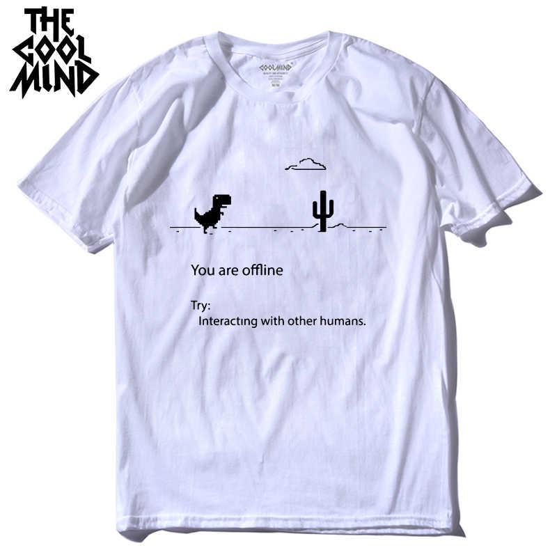 COOLMIND 100% baumwolle männer dino t-shirt männlichen sommer lose lustige t-shirt t shirt männer sie drucken dinosaurier t hemd