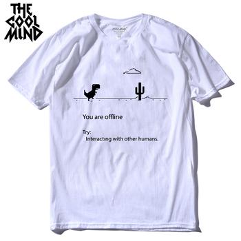 COOLMIND 100 bawełna mężczyźni dino tshirt mężczyzna lato luźny śmieszny t-shirt tee shirt mężczyźni drukujesz dinozaur t shirt tanie i dobre opinie THE COOLMIND Krótki O-neck Topy Tees short sleeve Dzianiny COTTON Na co dzień