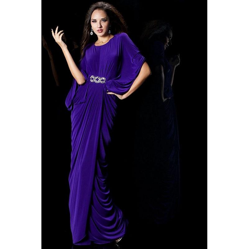 Vestido De Noiva Robe De Soiree Long 2018 Scoop Neck Half Sleeve Crystal Purple Evening Gown Mother Of The Bride Dresses