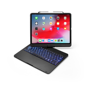 360 Degree Rotation Smart Bluetooth Keyboard Cases for Apple iPad Pro 12.9 inch 2018 Tablet Case with Keyboard LED Backlight