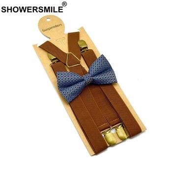 SHOWERSMILE muszka szelki zestaw brązowe klipsy dorosłe brązowe szelki damskie szelki Unisex Vintage męskie szelki szelki tanie i dobre opinie CN (pochodzenie) Poliester Dla dorosłych Stałe Moda Adult Suspenders G19010501 120cm 3 Clips Suspender Adjustable Suspender