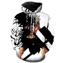 2021 novo anime hoodie preto trevo 3d impresso hoodie masculino primavera casual manga comprida moletom