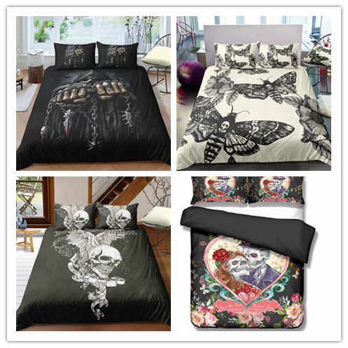 3D Butterfly Printing Skull Bedding Set Duvet Cover Set Gothic Bedclothes Vintage Home Textiles 2/3 Piece Suits