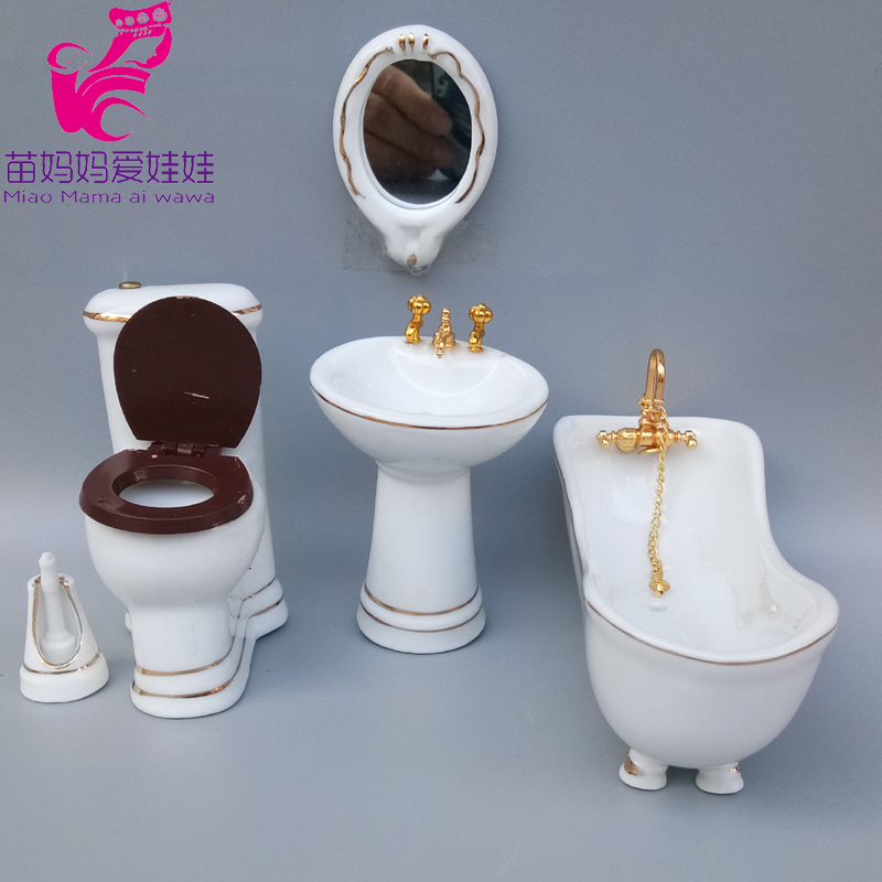 Mini Bathroom Model For Doll House Diy Bathtub Toilet For Barbie Blythe Doll Furniture 1/6 BJD Doll Accessories