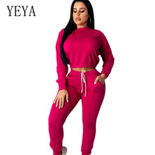 YEYA Casual Two Pieces Sets Sports Style Playsuits Elegant Long Sleeve Pullover Tie-up Autumn Leisure Femme Jumpsuits Mono Mujer